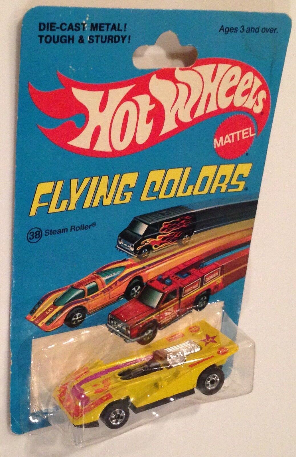 Menta en tarjeta 1977 Hot Wheels Flying Colorees giallo Rodillo de vapor rara variación de 7 estrellas