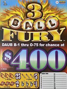 3 Ball Fury $400 Bingo Pull Tabs Game Seal Card