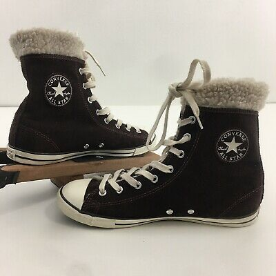 Converse Women's Chuck Taylor All Star Hi Rise Faux Shearling Lined Boots Size 9 | eBay