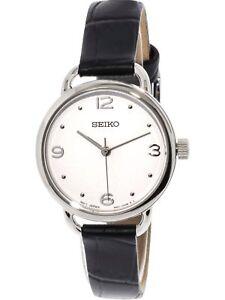 Seiko Women's Quartz Watch White Dial Black Leather Strap SUR669 New in Box