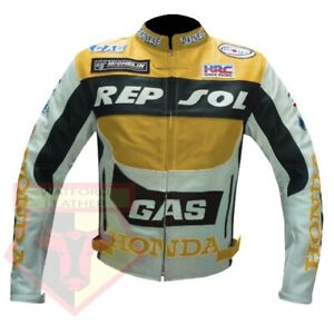 HONDA-GAS-REPSOL-YELLOW-MOTORBIKE-MOTORCYCLE-COWHIDE-LEATHER-ARMOURED-JACKET