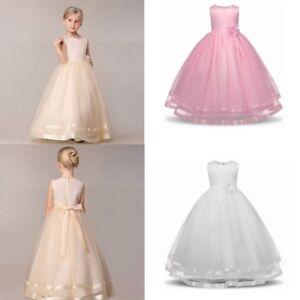 Image Is Loading Girls Kids Flower Princess Formal Wedding Bridesmaid Gown