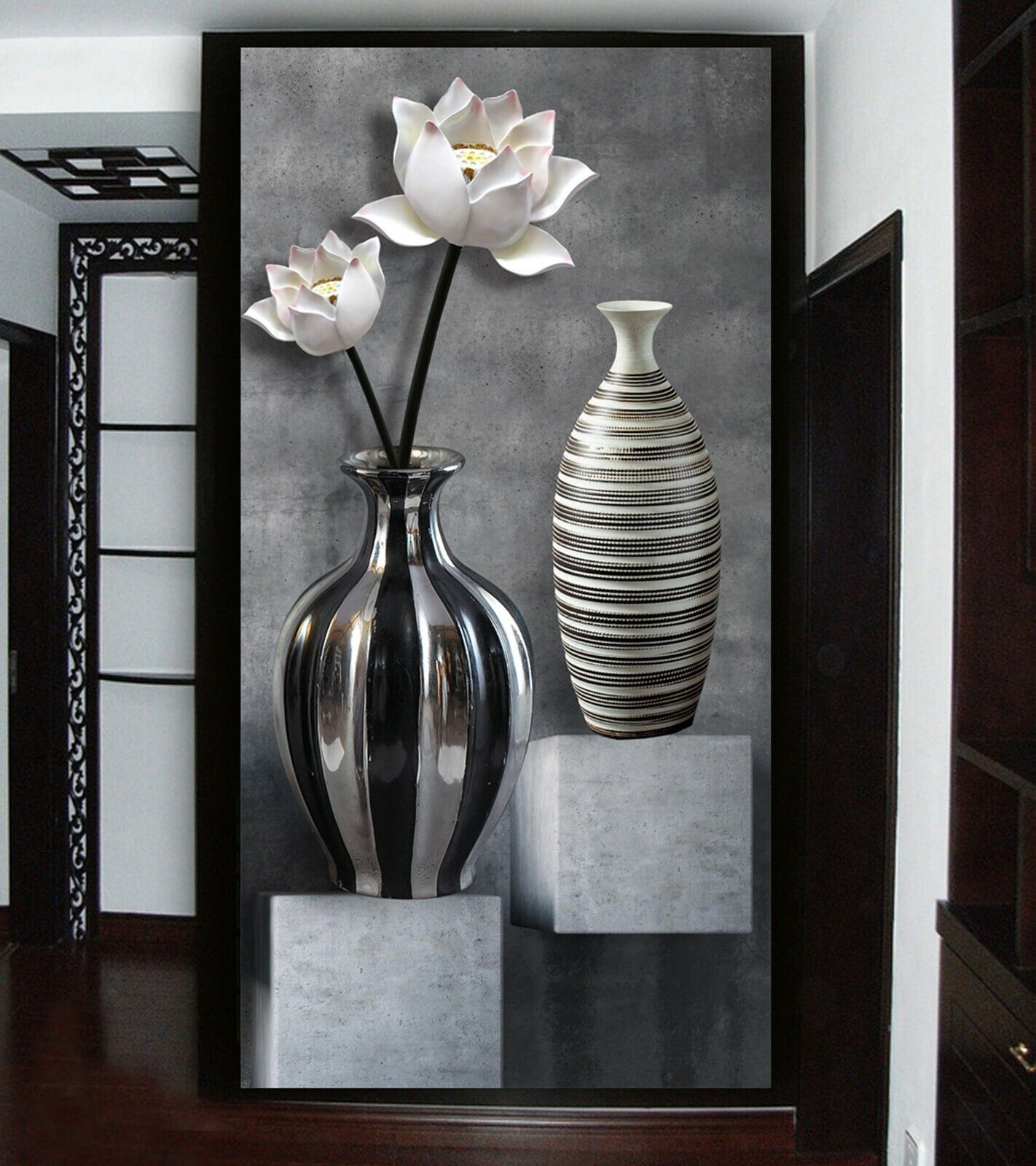 3D Art Vase Lotus N1223 Wallpaper Wall Mural Removable Self-adhesive Sticker Amy