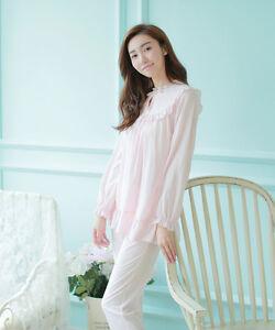 ab2795c8b Image is loading Ladies-Cotton-Pink-19th-Century-Victorian-Inspired-Pyjamas-