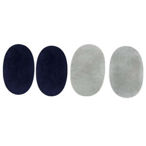 2 Pairs Sew On Suede Oval Elbow Knee Patches Sweater Repair Crafts Grey//Blue