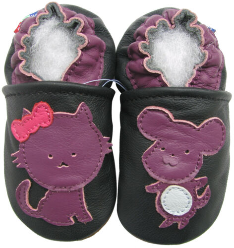 carozoo mouse cat black 6-12m soft sole leather baby shoes slippers
