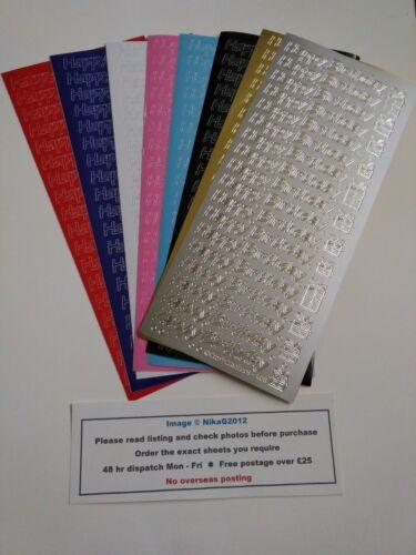 BD2 1cm Happy Birthday Modern Peel Off Stickers Card Making Craft Scrapbooks