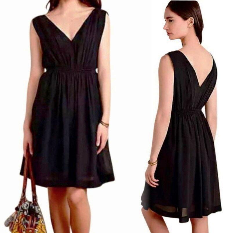 Anthropologie Draped Fit + Flare Dress 4 Small schwarz Crepe V Neck Front + Back