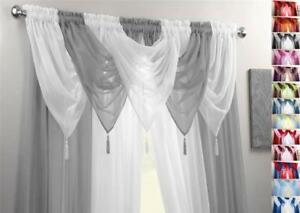Image Is Loading SILVER Amp WHITE VOILE SWAGS CURTAIN PANELS