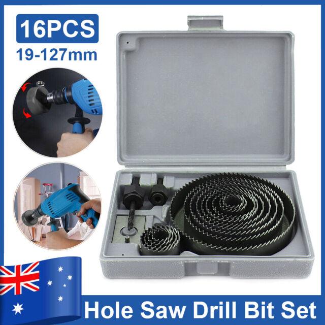 16PCS HSS Hole Saw Drill Bit Set Wood Plastic Metal Hole Cutter Tool 19mm -127mm