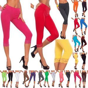 113711af49f0a1 Womens 3/4 Length Leggings Ladies Floral Lace Cropped Trim Edge ...