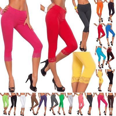 Womens 3//4 Leggings Lace On Side Cotton Cropped Colorful Pants Size 8-22 LPL34
