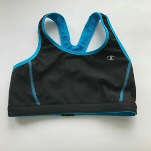 Champion-Women-039-s-Black-amp-Blue-Racerback-Sports-Bra-Size-Small