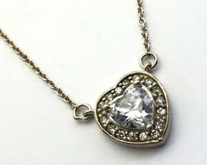 Vintage Sterling Silver Glittery Gem Set HEART 18 INCH Chain Necklace GIFT BOXED
