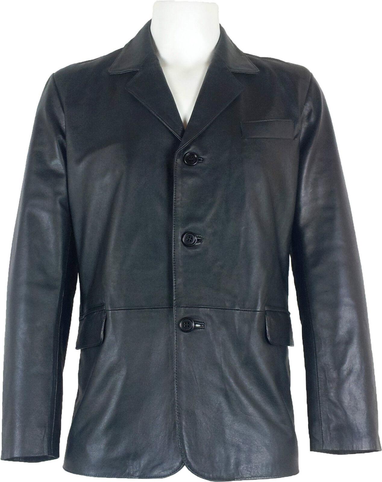 UNICORN Hombre Genuino real cuero chaqueta Estilo clásico Blazer traje black  B5
