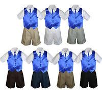 4pc Boy Toddler Formal Royal Blue Vest Necktie Khaki White Black Shorts Sz S-4t