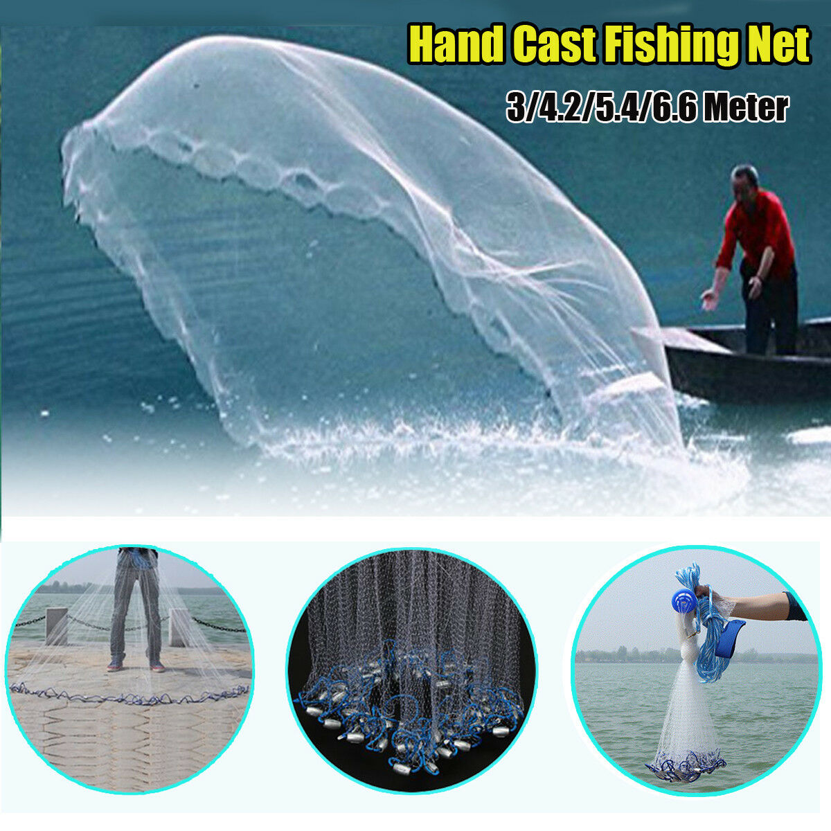 14 18 22 30FT Hand Cast Fishing Mesh Equipment Spin Network Bait Fish Net+Sinker