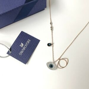 Swarovski-Duo-Evil-Eye-Pendant-Blue-38cm-Rose-Gold-Chain-Necklace-COD-PayPal
