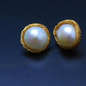Hepburn-Style-Genuine-14K-gold-filled-Natural-Baroque-Freshwater-Pearl-Earring