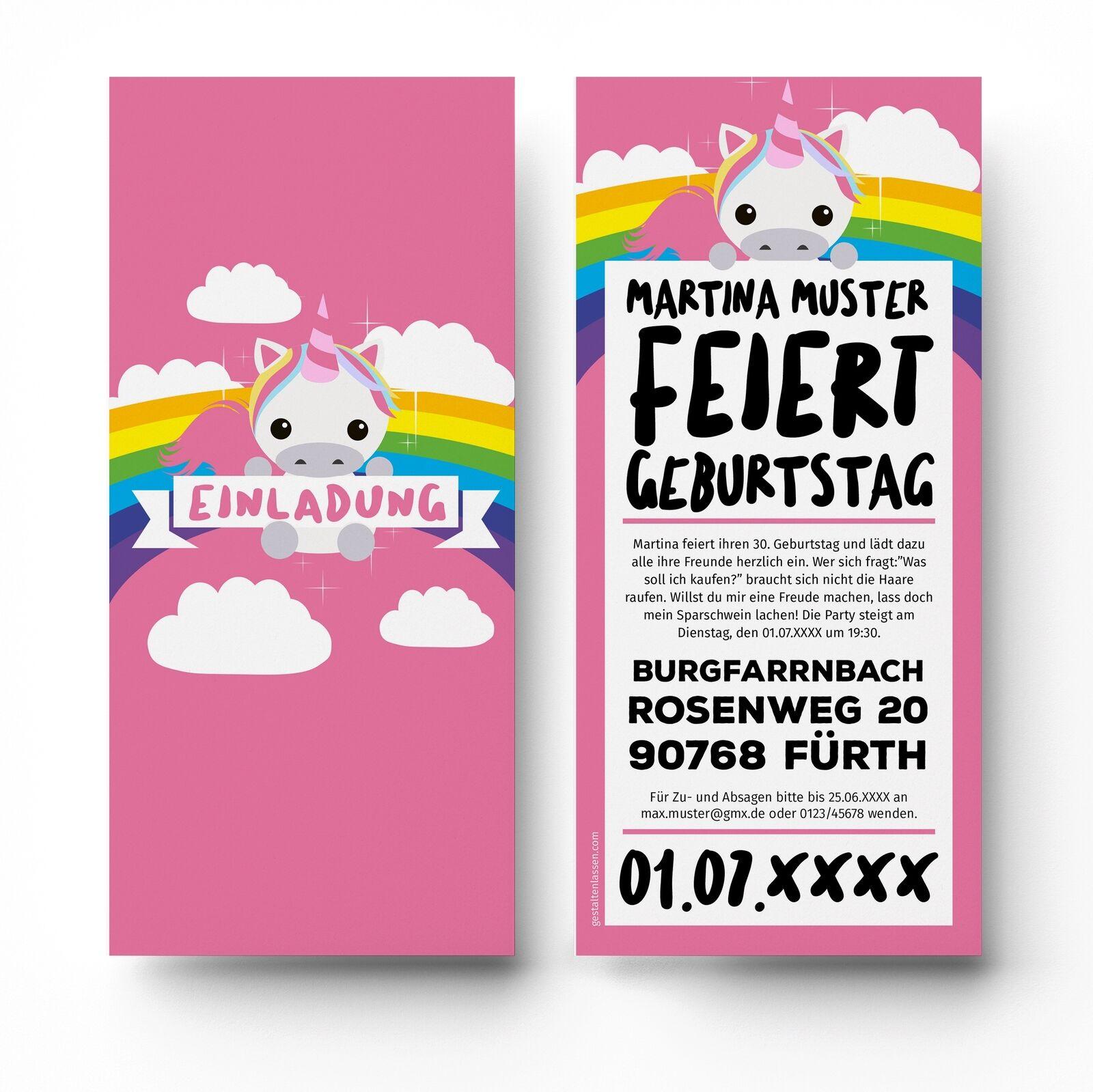 Einladungskarten Geburtstag Einhorn lustig witzig Einladungen Karten 18 30 40