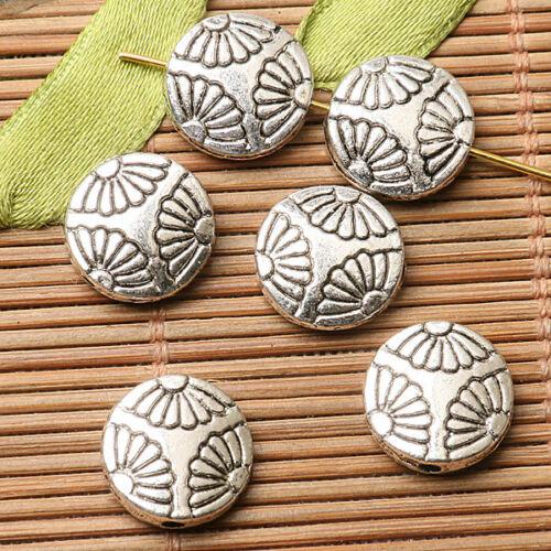 30pcs Dark Silver Color 2 faces de forme ronde fleurs motifs Spacer Bead EF2751