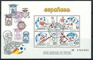 Spanien-Fussball-Weltmeisterschaft-Block-25-gestempelt-1982-Mi-2550-2551