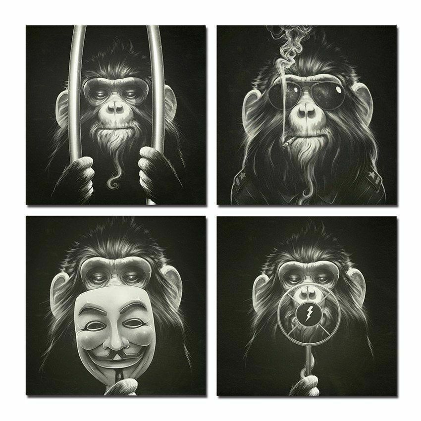 Framed Wall Canvas Pictures Monkey Printed Ready To Hang Waterproof Ink Arts New
