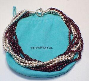 Vintage Tiffany Co 16 Garnet Sterling Silver 7 Strand Torsade Bead Necklace Ebay