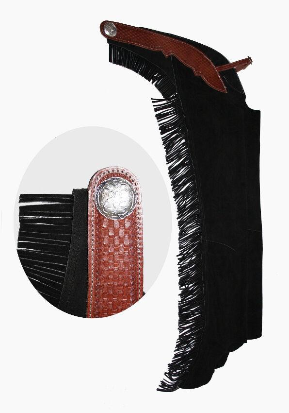 Profi Westernchaps Showchaps Chaps mit Lederbesatz black Gr. XS-XL