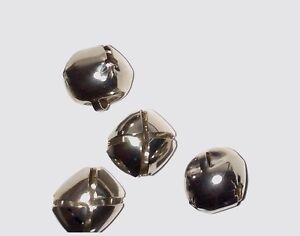 "Nickel Sleigh Bells - 1"" Cross with slot - Straight Dance or Bear Bells - 8 CT"