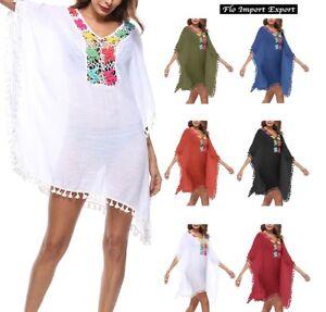 new arrival b34dc 92a83 Dettagli su Vestito Copricostume Caftano Mare Donna Cover Up Summer Kaftan  Dress COV0045