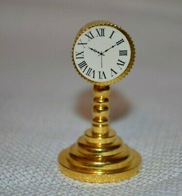 Dollhouse Miniature Vintage Domed Gold Mantle Clock 1:12 Scale Non-working FB