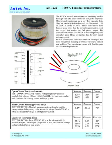 44Vct Audio Power Transformer AS-1222  100VA 22V 22V