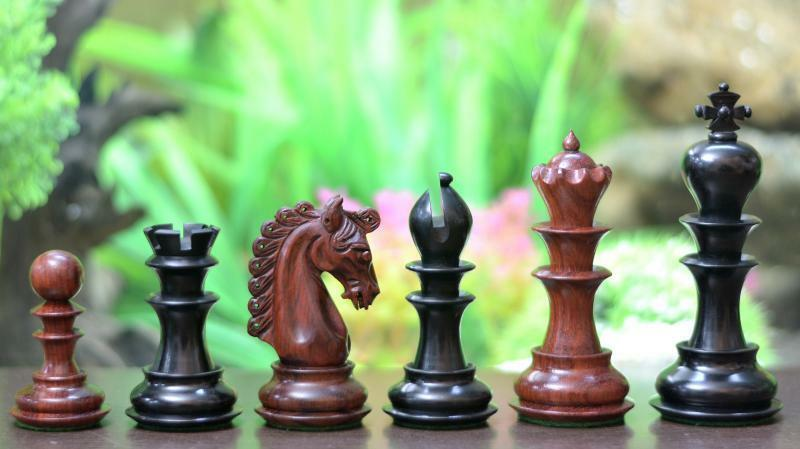 Triple Weighted Weighted Weighted Chess Set Staunton Bud pink Wood   Ebony Wood 4Q  FREE P&P 7d1a2d