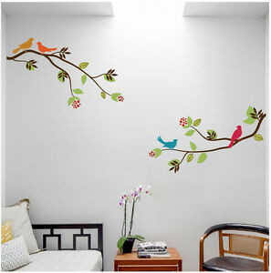 2 large tree branches with birds wall decal deco art for Big tree with bird wall decal deco art sticker mural
