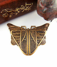 ANTIQUE BRASS Egyptian / Art Deco BUTTERFLY SCARAB Stamping ~ Finding (C-407)