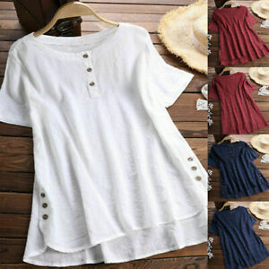 a723990b110 Details about UK Womens Plus Size Summer Blouse Tunic Holiday Ladies Cotton  Linen T-shirt Tops