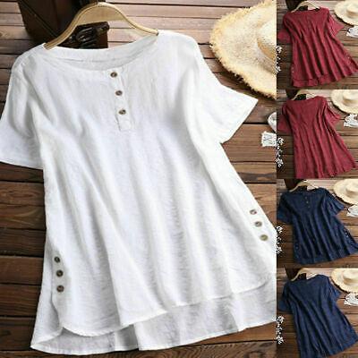 Plus Size Women Plain Blouse Summer Tops Solid Tunic Short Sleeve Loose T-Shirt