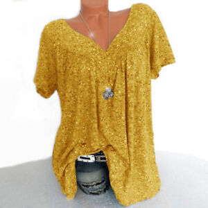 Plus-Size-Women-Summer-Loose-Shirt-Tops-Print-Short-Sleeve-Casual-Tee-Blouse-Lot