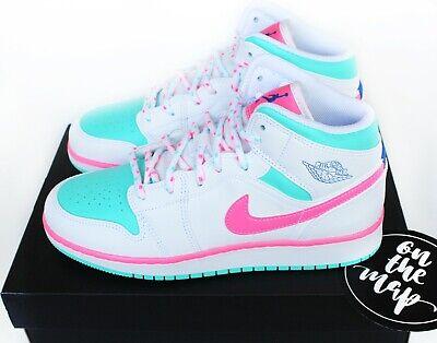 sección Maestro rápido  Nike Air Jordan 1 Retro Mid Digital Pink Aurora Green Miami GS UK 3 4 5 6 7  US   eBay