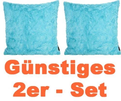 2er Set Kissen 40 x 40 cm türkis Zottel  zum Reinkuscheln im Doppelpack