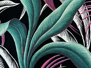 SALE-Hollywood-Regency-Palms-Barkcloth-Vintage-Fabric-Drape-Curtain-30s-Art-Deco