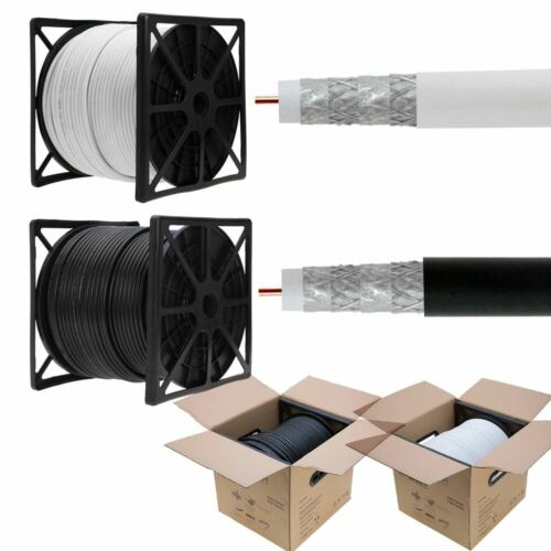 500ft 1000ft RG6 Coaxial Cable Quad Shield 18 AWG Coax Satellite TV RoHS Black