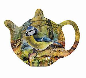 Country Life British Birds Robin Blue Tit Tea Bag Tidy Holder Tray Kitchen Tool