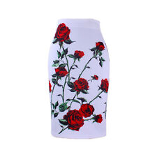 Red Rose print bodycon faldas women's pencil skirt girls bodycon bottoms M-XXL