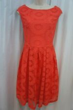 London Times Dress Sz 10 Coral  Pleated Floral Lace Casual Career Tea Dress