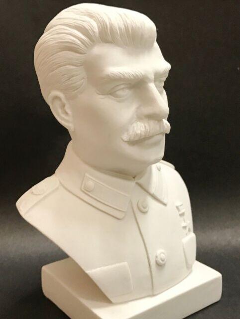 4/'/' Black Metallic Free shipping Soviet Russian USSR Leader Joseph Stalin Artificial Marble Stone Bust Statue Figurine Sculpture 9 cm