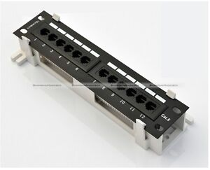 New 12 Port Cat6 Wall Mount  Surface Mount Patch Panel