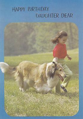 Vintage 1970/'s Happy Birthday Daughter Lassie Rough Collie Greeting Card ~