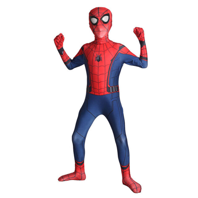 Kids Spider-Man Homecoming Cosplay Costume Boys Halloween Party Bodysuit